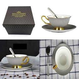 Bone China Custom Unique Pin Stripe Coffee Mug&Tea Cup & Sau