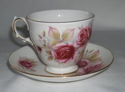 Queen Anne Bone China Rose Cup and Saucer