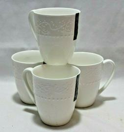 Roscher Bone China White Coffee Mugs Feather Swirl & Hobnail
