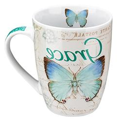 "Botanic Butterfly Blessings Blue ""Grace"" Mug - Ephesians 2:8"