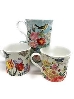 Botanical Flowers and Birds 10 Oz Assorted Mug Set 4 - Graci