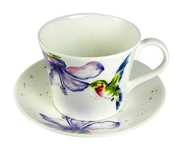 Roy Kirkham Breakfast Cup Saucer Hummingbird Fine Bone China