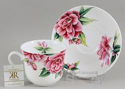 """CAMELLIA"" 16 oz Breakfast Cup & Saucer Set - by Roy Kirkham"