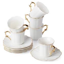 BTäT- Espresso Cups and Saucers, Set of 6 Demitasse Cups  w