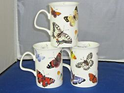 BUTTERFLY GARDEN, SET 3 FINE BONE CHINA mugs MADE IN ENGLAND