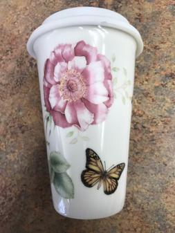 Lenox Butterfly Meadow Porcelain Travel Coffee Mug Cup