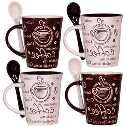 Cafe Style 10 Oz Coffee Mug and Spoon, , Brown, White