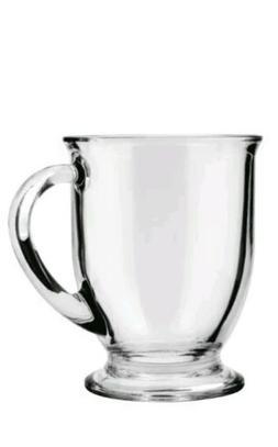 Anchor Hocking Café Glass Coffee Mugs, Clear, 16 oz  - Dish