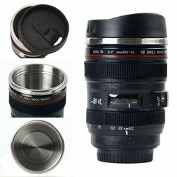 Camera Lens Coffee Mug/Cup With Lid, Thermos Travel Coffee M