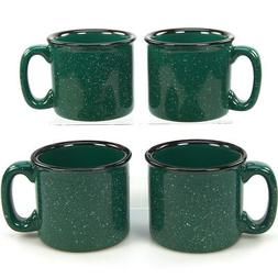 Campfire Coffee Mug Set of 4 Speckled Green Gift Set Heavy D