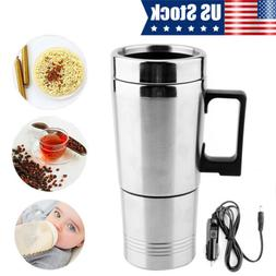 Car Electric Water Heater Mug Stainless Steel Travel Heating