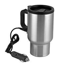 12V Car Heating Cup Car Heated Mug, 450ml Stainless Steel Tr