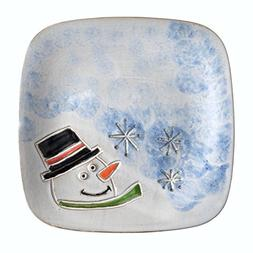 MudWorks Pottery Carved Snowman 8-inch Square Plate