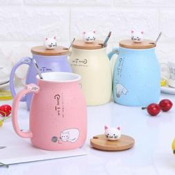Cat Ceramic Mug Coffee Heat-resistant Cup With Spoon Lid Dri