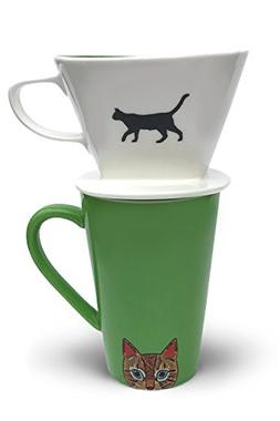Cat Coffee Pour Over Filter Cone and Ceramic Mug Set Great C