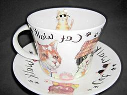 CAT WALK  BREAKFAST CUP SAUCER,fine bone china, Made in Engl