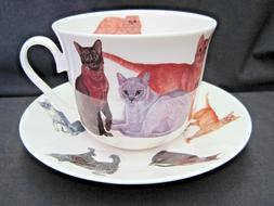 CATS GALORE, FINE BONE CHINA  BREAKFAST CUP SAUCER, ROY KIRK