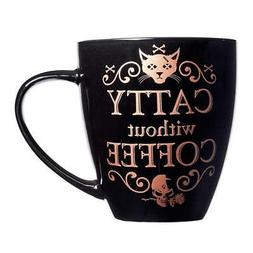 Alchemy Gothic Catty Without Coffee Cup Bone China Mug Black
