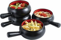 Bruntmor Ceramic Groove Bowl Set of 4 Ice Cream Cereal Soup