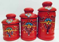 Ceramic Canister Set Mexican Talavera Pottery Red Large Folk
