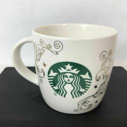 Starbucks Ceramic Coffee Mug 14 Fl Oz/414 ml White With Gold