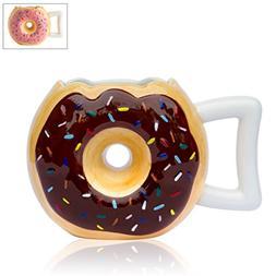Ceramic Donut Mug - Delicious Chocolate Glaze Doughnut Mug w
