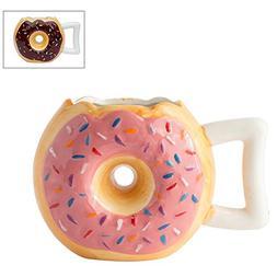 Ceramic Donut Mug - Delicious Pink Glaze Doughnut with Sprin