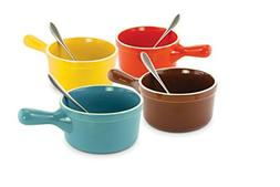 KOVOT Set of 4 Ceramic Handles Soup Bowls With Metals Spoons