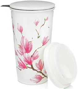 Ceramic Travel Mug with Lid. Magnolia Double-Walled Tea Cup
