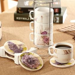 Ceramic Mug Saucers Set Porcelain Stacked Coffee Cups with H