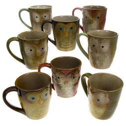 Set Of 8 Gibson Large 17oz Ceramic Owl Shape Coffee Mug Set