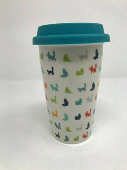 IQ Accessories Ceramic Travel Mug Microwave Safe - Teal w/ C