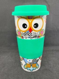 Ceramic Travel Mug Owl Bird Coffee Cup Hand Grip Porcelain A