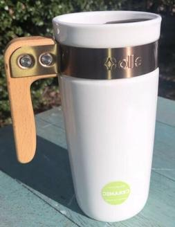 Ello Ceramic Travel Mug Wooden Handle Coffee Mug Tea Cup Whi