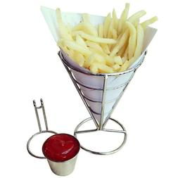 Chip Stand Holder French Fry Fries Bowl Black Metal Wire Kit