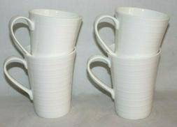 Mikasa Ciara White Bone China 12oz. Coffee Mugs Cups Set of