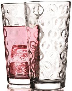 Circleware Circles Drinking Glasses, Set of 4, 17 ounce