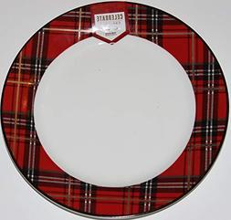"Ciroa""Celebrate Christmas"" Plaid 10-1/5"" Dinner Plates- Set"