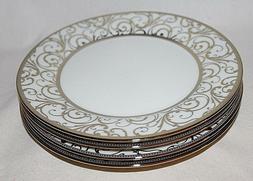 Ciroa Veluto Gold Swirls Metallic Accent Porcelain Salad Pla