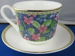 CLASSIC VIOLETS FINE BONE CHINA  BREAKFAST CUP SAUCER KIRKHA