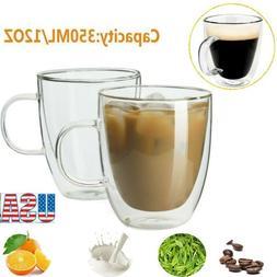Clear Glass Double Wall Coffee Mug Tea Espresso Latte Cup 12