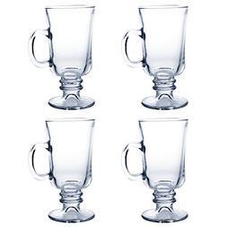 Irish Coffee Mugs   4pcs of Clear Vintage Glass with 7.8oz C