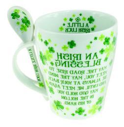 Clover Mug & Spoon Set Irish Blessing Dishwasher safe White