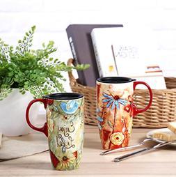 Travel Coffee Ceramic Mug Porcelain Latte Tea Cup With Lid i