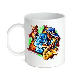 Coffee Cup Mug Travel 11 15 oz Music Jazz Blues Men Playing