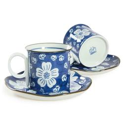 CHINZEE Coffee Cups & Saucers Porcelain Mugs Set of 2 Blue A