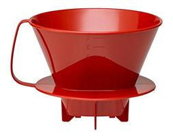HIC Coffee Filter Cone, Red, Number 4-Size Filter, Brews 8 t