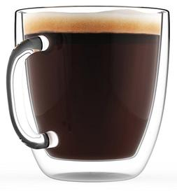 Large Coffee Mugs, Double Wall Glass Set of 2, 16 oz - Dishw
