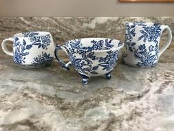 Grace Fine Porcelain Coffee Mug. Beautiful Blue Floral Desig