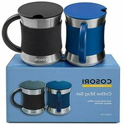 COSORI Coffee Mug with Lids Set of 2, Stainless Steel Cups w